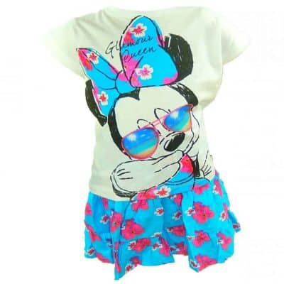 Alege haine pt fete Minnie Mouse, tricou si fustita