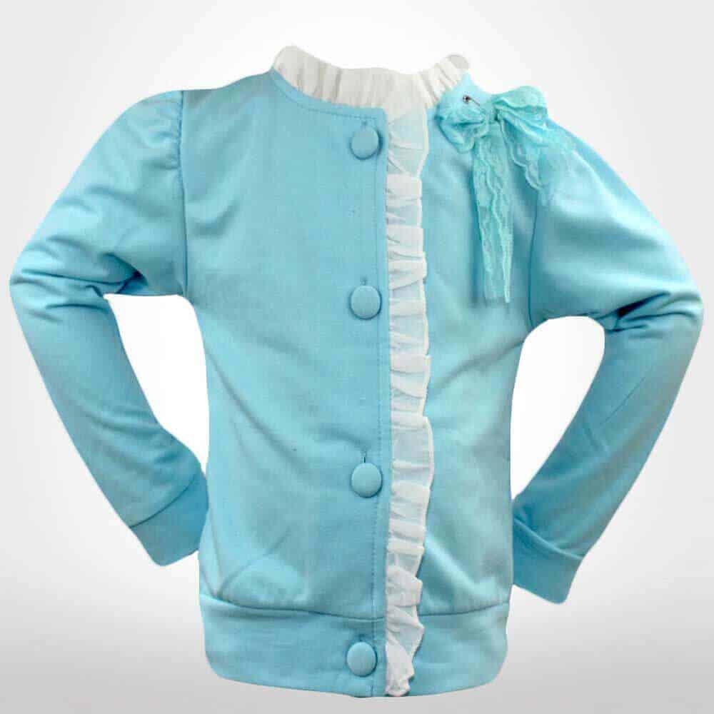 Pulover bleu cu nasturi fete