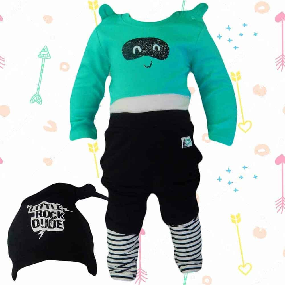 Set bebe body, pantaloni si caciula ROCK