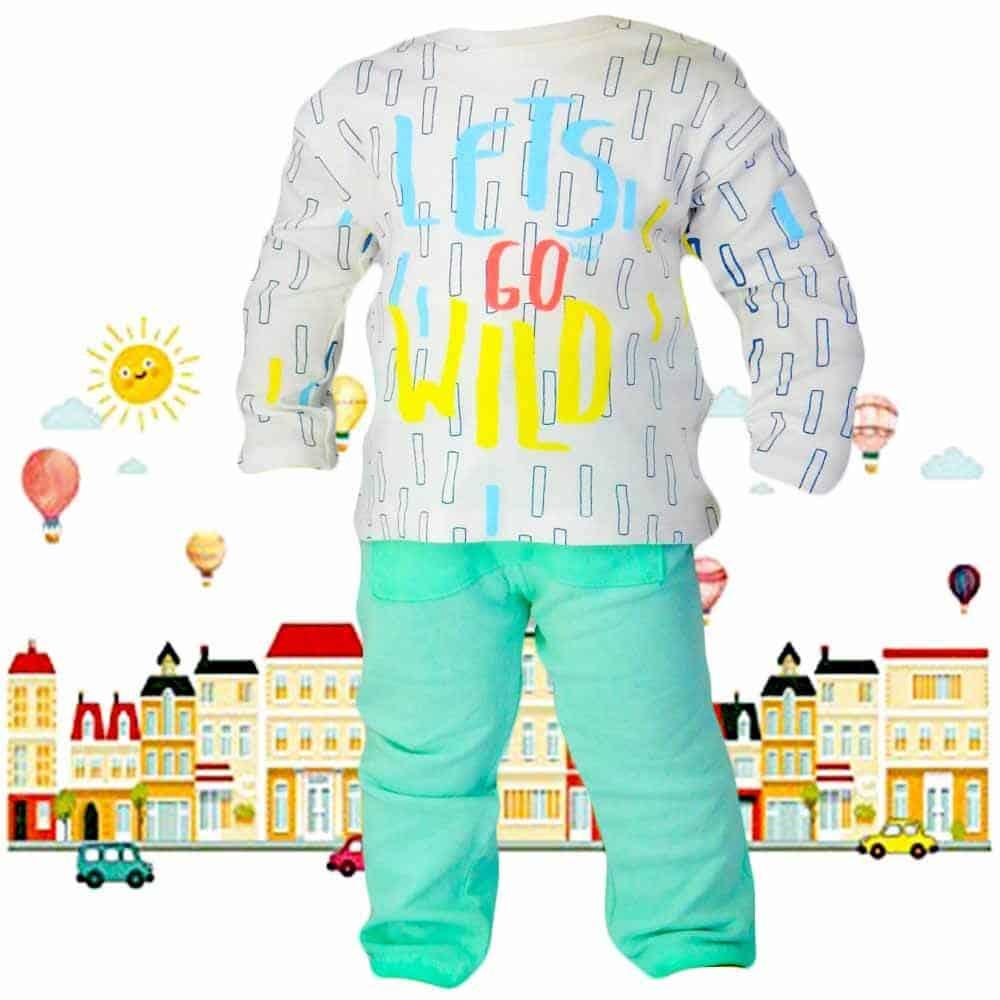 Alege set bebe cu bluza-body si pantaloni