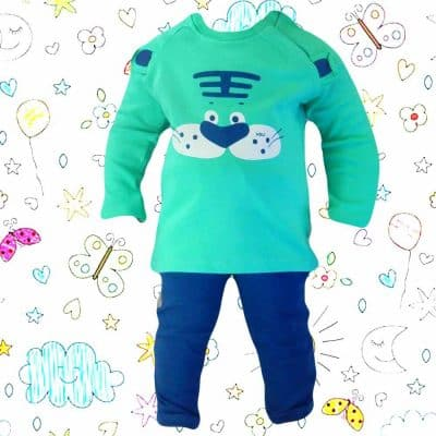 Set bebelusi bluza si pantaloni, trening bebe turcoaz