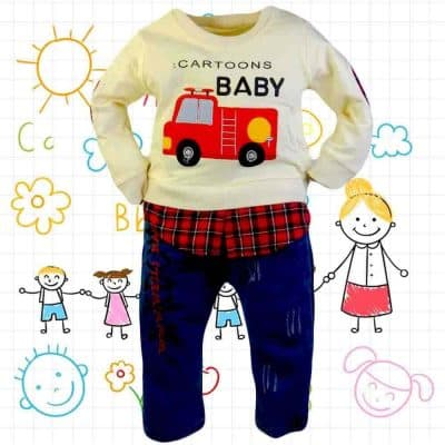 Haine bebelusi. Blugi, bluza masina pompieri