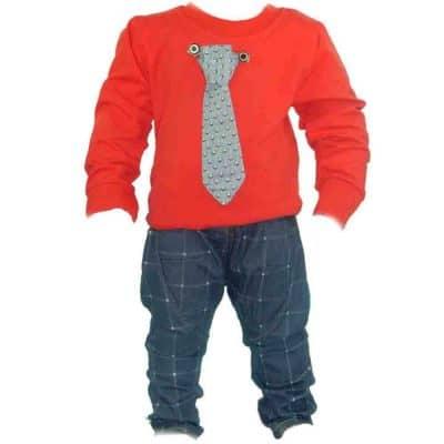 Bluza cu cravata, pantaloni pentru bebelusi