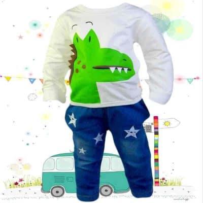Alege haine bebelusi. Set bluza si blugi Crocodil