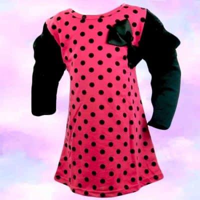 Alege haine pt fete, rochita fetite roz cu buline
