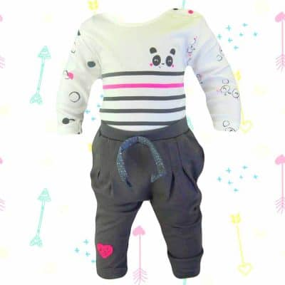 Haine de bebelusi. Set body si pantaloni Ursulet