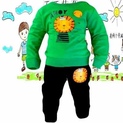 Haine pentru copii. Trening bumbac Leu verde